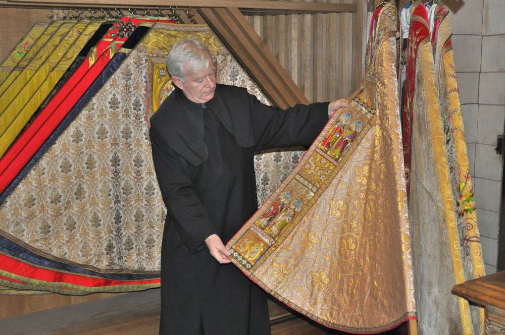 Private viewing of the vestments at Buckfast Abbey