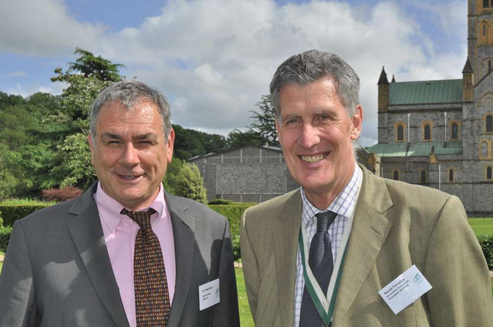 The Devonshire Association's outgoing President Dr Todd Gray MBE with incoming President David Fursdon LL