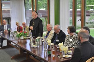 The Abbot of Buckfast, David Charlesworth OSB, addressing participants in the Conference Centre Refectory