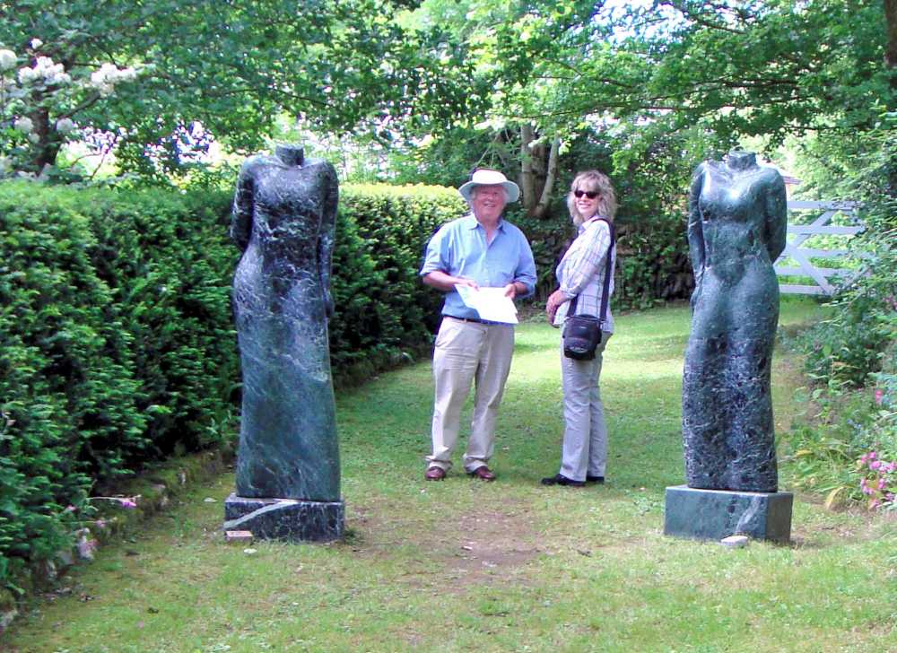 Statues by Paul Vanstone at Combe Sculpture Garden