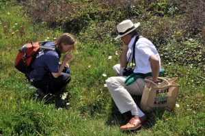 two members of the botany section looking for plants