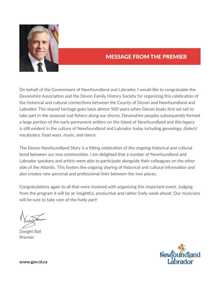 letter from the Newfoundland and Labrador Prime Minister