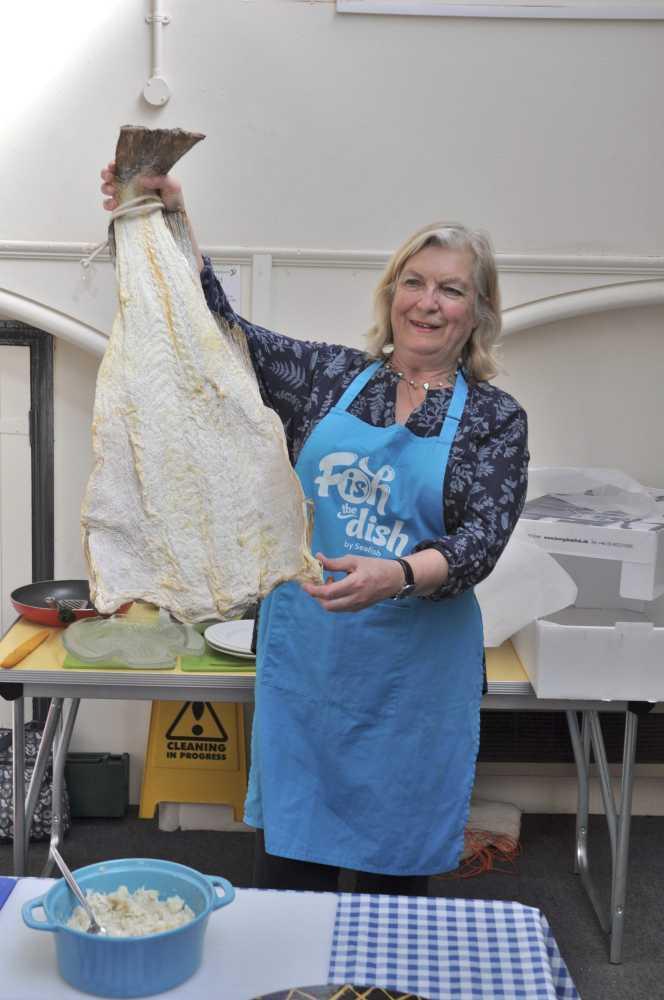 Demonstrating salt cod in Learn Devon, Bideford