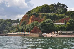 Red sandstone cliffs at Dawlish, Devon
