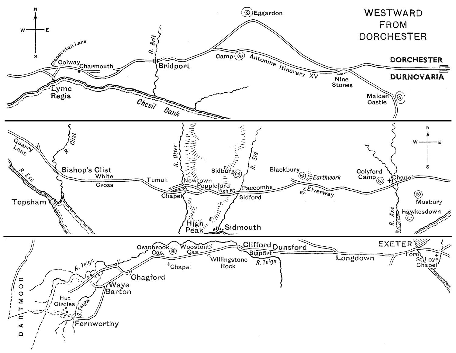 Map illustrating DA paper by Joce: Westward from Dorchester (1936)