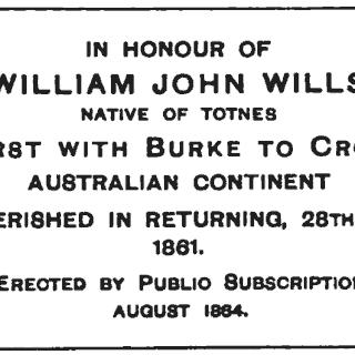 Inscription on obelisk to W. J. Wills in Totnes