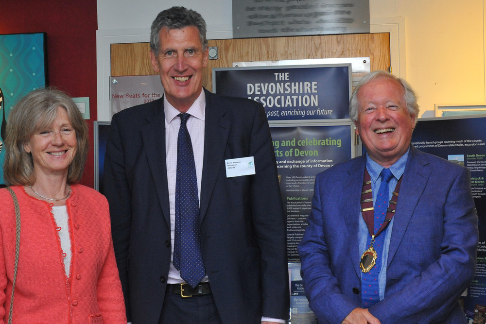 Catriona and David Fursdon, Lord Lieutenant of Devon, with Peter Beacham, Chairman of the Devonshire Association, Dartmouth 2018