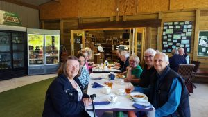"DA members at lunch in the ""Cider Vat"", Solland Farm, Sampford Courtenay, Devon"