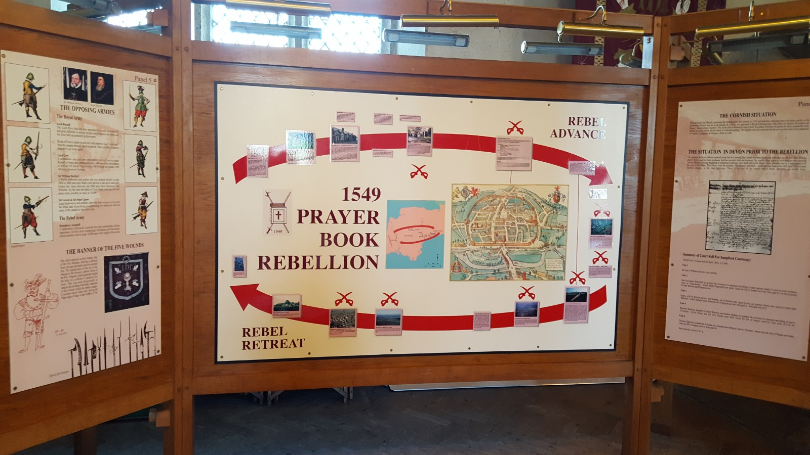 Prayer Book Rebellion display, Sampford Courtenay, Devon