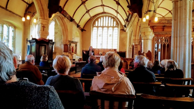 DA members in St Andrews church, Sampford Courtenay, Devon