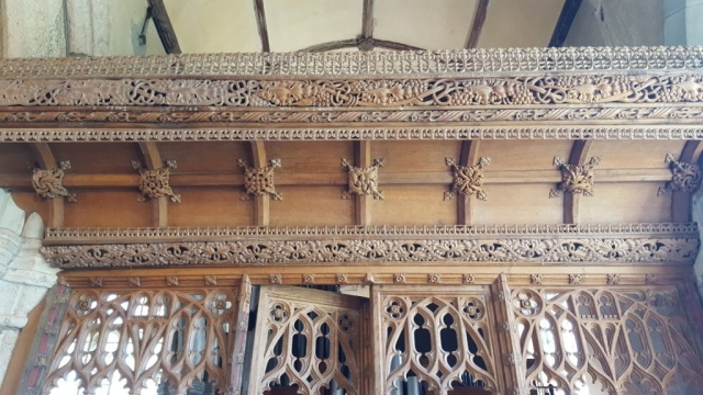 Restored screen, St Andrews Church, Sampford Courtenay, Devon