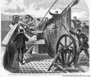 The breaking of the Atlantic telegraph cable 1865, from Illustrated London News