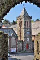 Launceston Town Hall seen from castle gateway