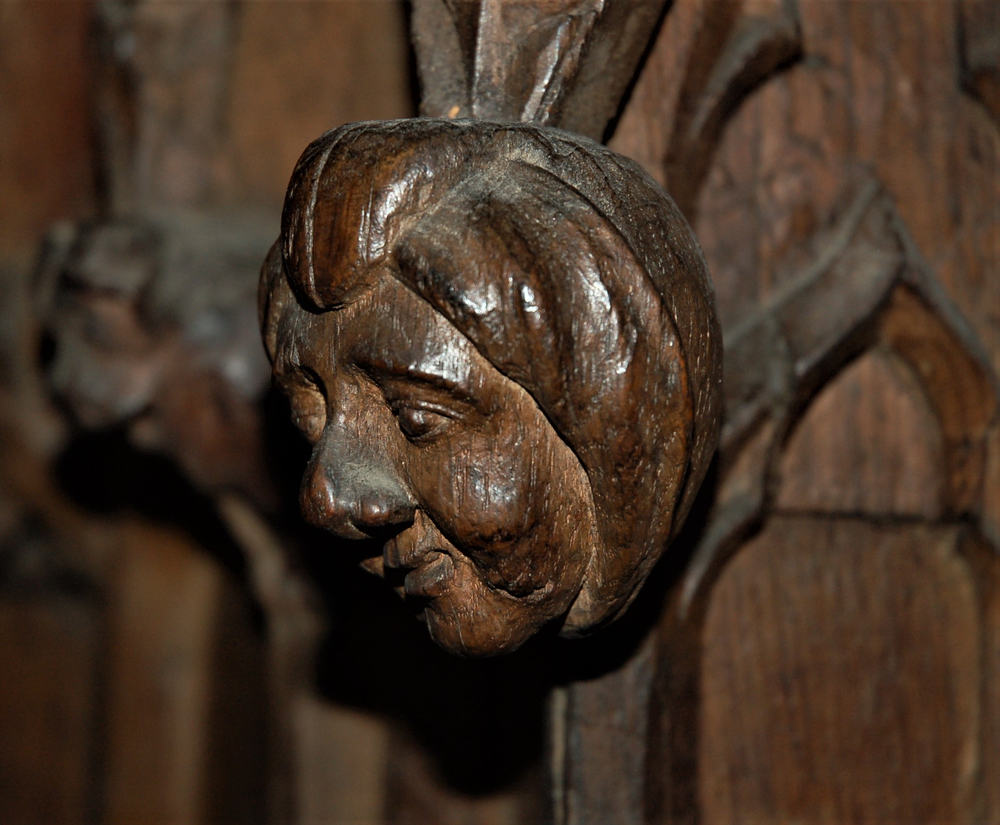 Detail of woodcarving on the Bishop's throne Exeter Cathedral
